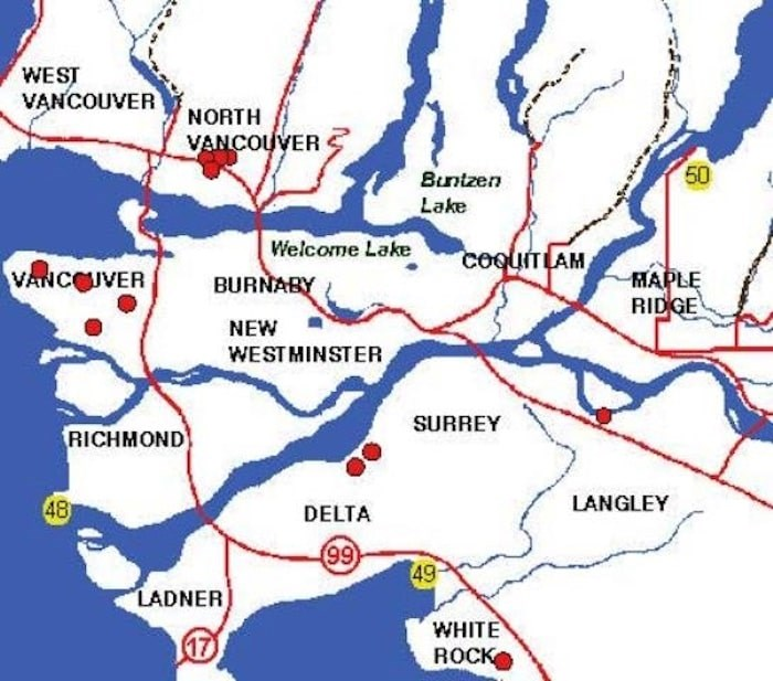 A map of break-ins around the Lower Mainland. - North Vancouver RCMP