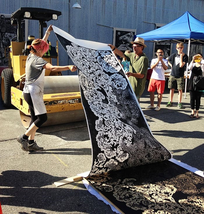 Artists and printmakers will team up to celebrate large‐scale woodcut printing using a steamroller as a press on Granville Island. Photo: BC Culture Days