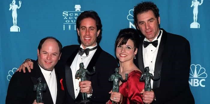 Photo: 22FEB97: Seinfeld stars JASON ALEXANDER (left), JERRY SEINFELD, JULIA LOUIS DREYFUS & MICHAEL RICHARDS with their Screen Actors Guild Awards for Comedy TV Series Ensemble. Pix: PAUL SMITH / Shutterstock