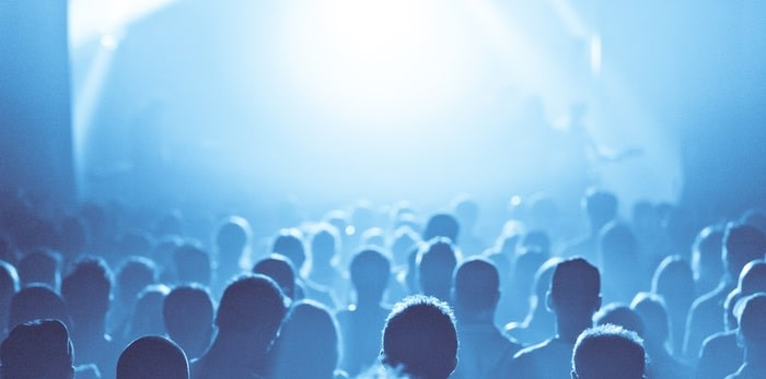 Crowd in silhouette during a live music show/Shutterstock