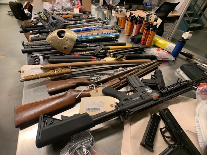 Police released photos and a video Thursday showing the number of weapons seized in Vancouver this year, with almost half in the policing district that includes the Downtown Eastside. Image courtesy VPD
