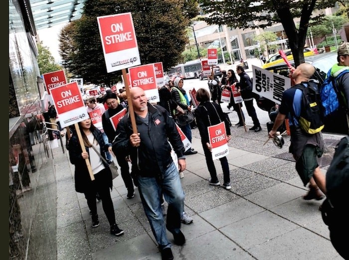 Unionized workers from three Vancouver hotels walked off the job in September. Photo: