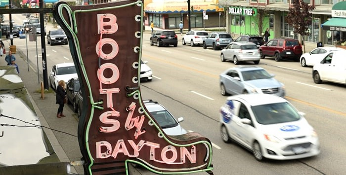 The iconic sign outside Dayton Boots Factory. Photo Dan Toulgoet