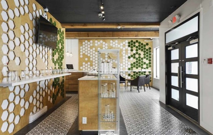 This retail space is currently operating as an EggsCanna cannabis store, and is listed for sale on B.C.'s commercial MLS for $2.5 million. Image via Vancouver Business Brokers