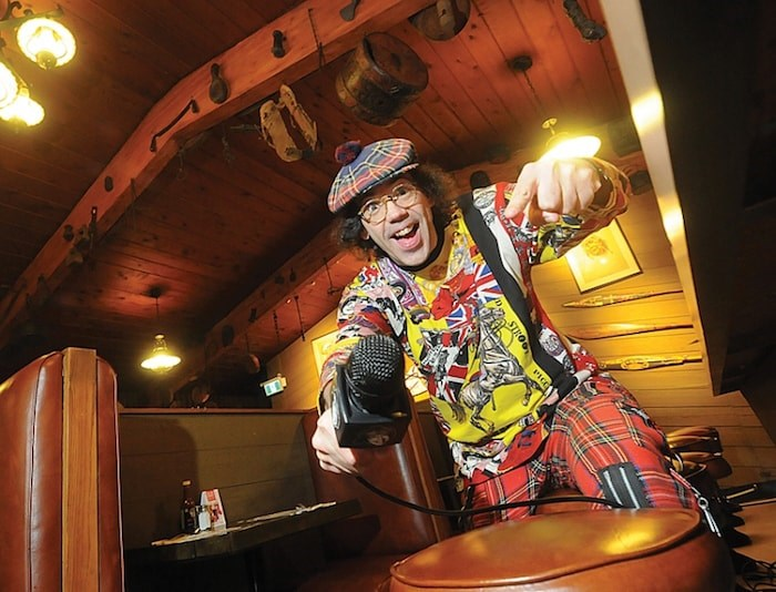 Nardwuar the Human Serviette jumps for joy in the dining area of his beloved Tomahawk Restaurant. After 32 years as a musician, concert organizer, radio host and irreverent interviewer of celebrities and politicians alike, the West Vancouver media legend has been inducted into the B.C. Entertainment Hall of Fame. He's celebrating the milestone with a free all-ages concert in Vancouver at the end of the month. Photo by Mike Wakefield/North Shore News