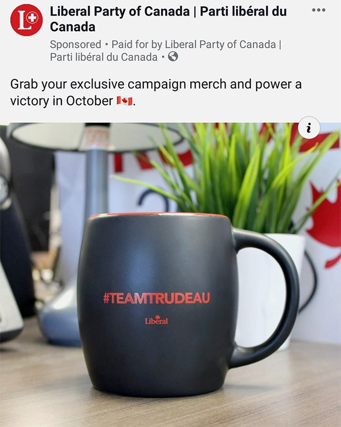 Paid promotion for a black-painted #TeamTrudeau mug, as seen on Facebook. Screengrab