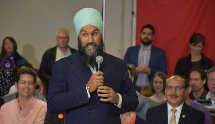NDP Leader Jagmeet Singh speaking at a town hall in Burnaby South Tuesday, Sept. 24, 2019. Photo by Kelvin Gawley/Burnaby NOW
