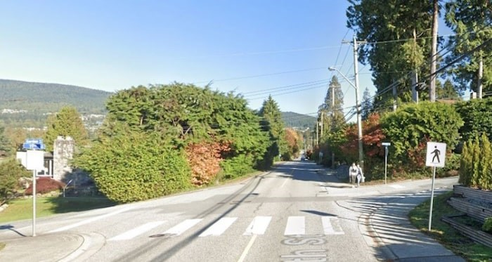 The intersection of 11th Street and Gordon Avenue in West Vancouver was the sit of a crash between a cyclist and a driver Tuesday. Google Street View