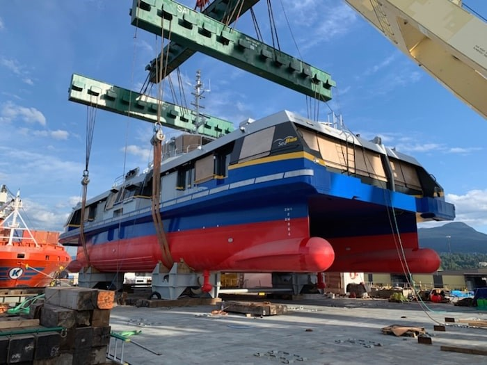 TransLink's Burrard Chinook, as it looked on delivery from Damen Shipyards. The catamaran will need to have its dual hulls increased in size before it can go into service. Photo courtesy TransLink