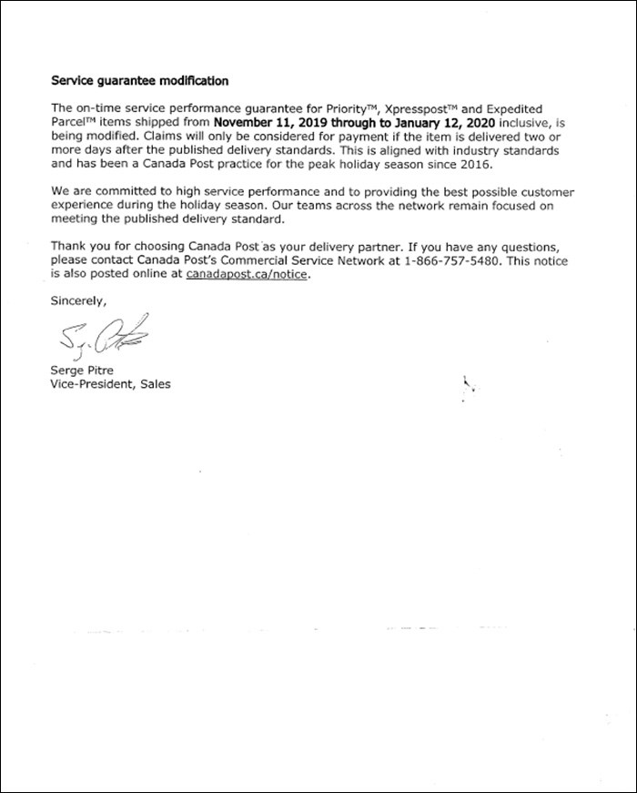 Canada Post's letter to businesses who use their services, Page 2. Screengrab