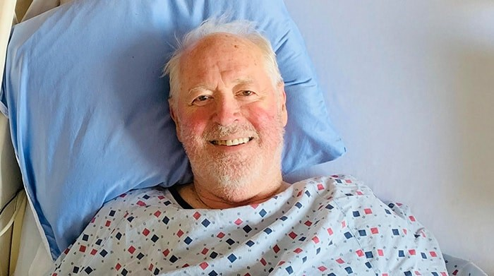 Canadian clock master Ray Saunders in hospital. Photo: Supplied