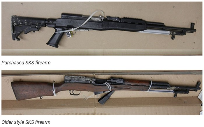 Two SKS model rifles used by the killers. Photos RCMP