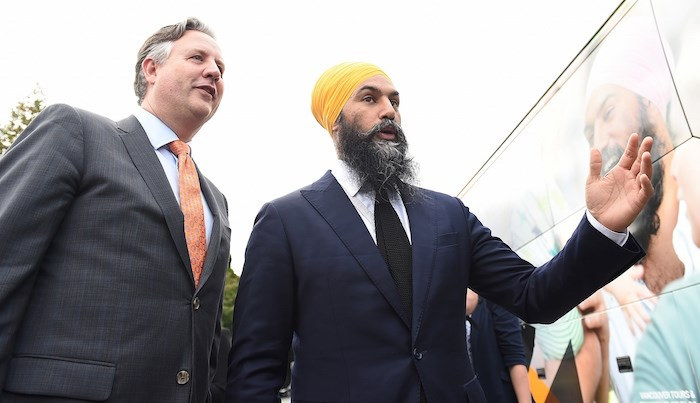 NDP leader Jagmeet Singh met with Mayor Kennedy Stewart at city hall last week. Photo Dan Toulgoet