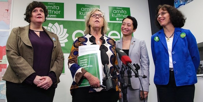 "Green Party Leader Elizabeth May (centre-left) and Burnaby North-Seymour candidate Amita Kuttner (centre-right) announce a ""robot tax,"" flanked by Richmond Centre candidate Francoise Raunet (left) and New Westminster-Burnaby candidate Suzanne De Montigny. Photo by Dustin Godfrey/Burnaby NOW"