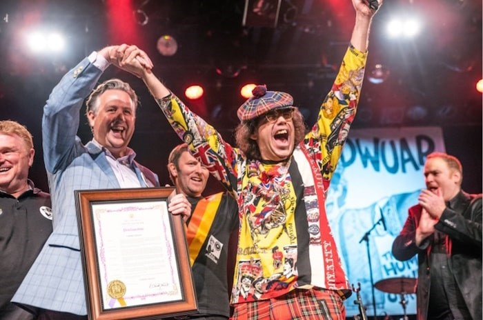 "Mayor Kennedy Stewart showed up at the Commodore to proclaim Sept. 29, 2019 as ""Nardwuar Day"" in Vancouver. Photo Jennifer Van Houten"