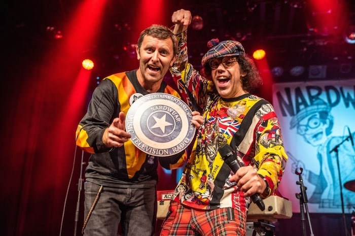 Grant Lawrence presents Nardwuar with his B.C. Entertainment Hall of Fame star. Photo Jennifer Van Houten