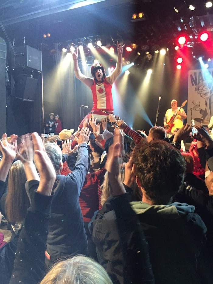 During the Evaporators' performance Nardwuar crowd-surfed all way down the stairs of the Commodore to Granville Street and back. Photo Shane Gildnes