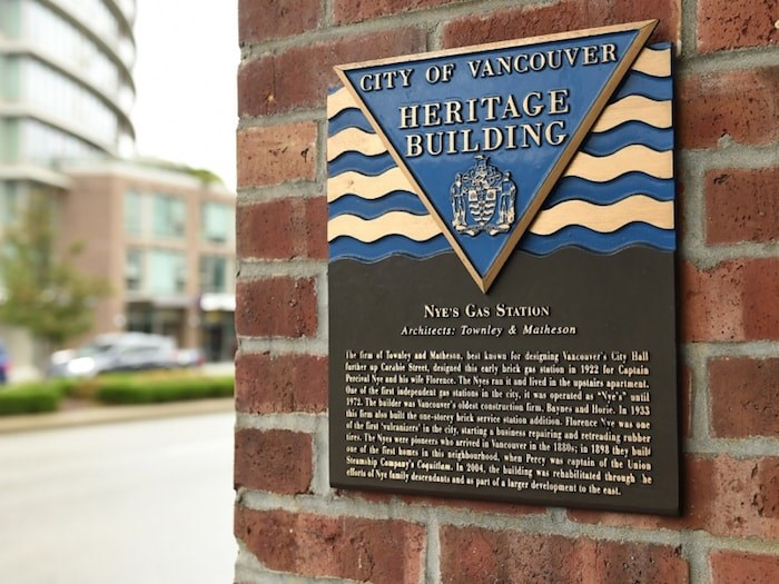 An example of the type of plaque being targeted. Such plaques indicates a building is protected by municipal heritage designations or a legal agreement. Photo by Dan Toulgoet/Vancouver Courier