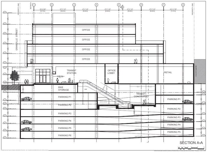 A section of the proposed building, which is included in PCI's development permit application.