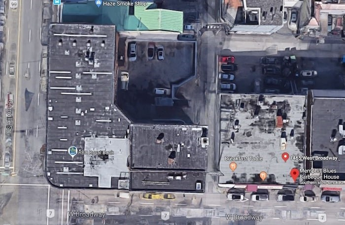 Google satellite view of the proposed development site at the corner of Broadway and Granville Street.