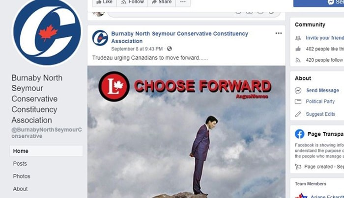 A meme urging Prime Minster Justin Trudeau to walk off a cliff was posted by the Burnaby North-Seymour Conservative Constituency Association while Heather Leung was still the candidate. Screenshot/Facebook