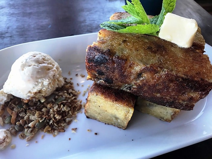 Banana bread with brown butter ice cream at Back Eatery. Photo Sandra Thomas