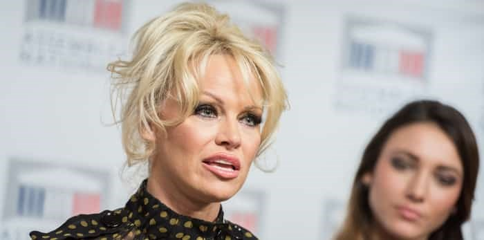 Photo: PARIS, FRANCE - JANUARY 19, 2016 : The canadian actress Pamela Anderson during the press conference against the force-feeding of geese at the french National Assembly. / Shutterstock