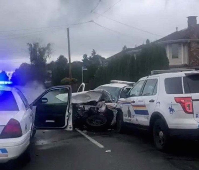 This photo shows how one police cruiser appears to have rammed head-on into another. Facebook photo