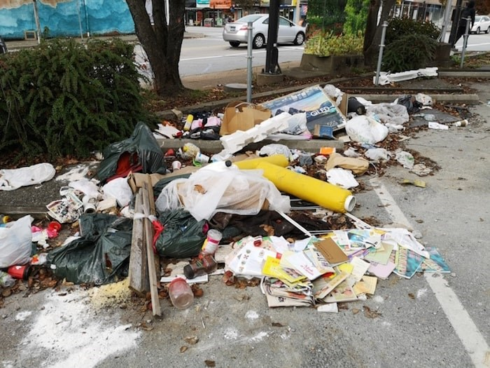 This pile of garbage was dumped at the corner of Hastings and Gilmore in Burnaby Heights. Photo submitted