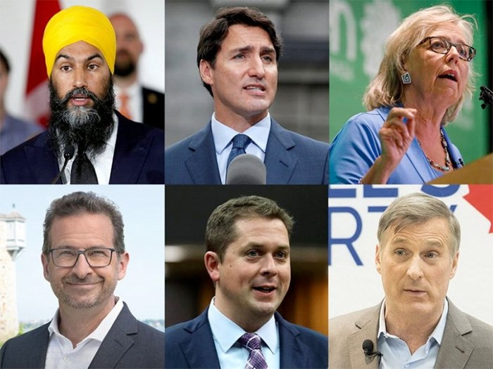 Jagmeet Singh, Justin Trudeau, Elizabeth May, the Bloc guy, Andrew Scheer and Maxime Bernier. File photos
