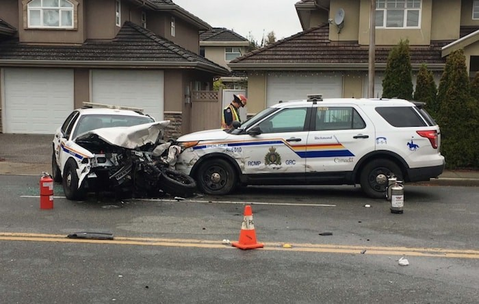 An Abbotsford man is accused of having stolen a police cruiser in Richmond then causing multiple crashes. Bob Williamson photo