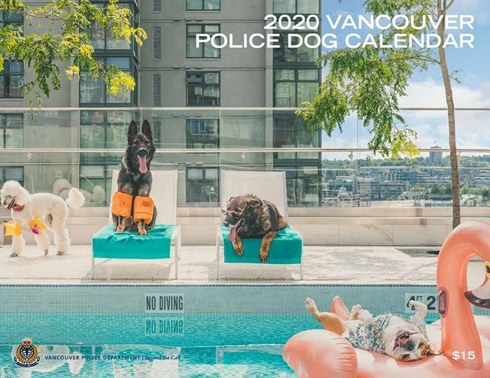 The 2020 Vancouver Police Dog calendar has been released. Photo: VPD Canine unit