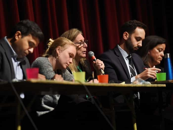 Taleeb Noormohamed (Liberals), Yvonne Hanson (NDP), Louise Boutin (Greens), Zach Segal (Conservatives) and Jody Wilson-Raybould (independent) are five of the six candidates running in Vancouver-Granville. Naomi Chocyk of the People's Party of Canada is not pictured. Photo: Dan Toulgoet