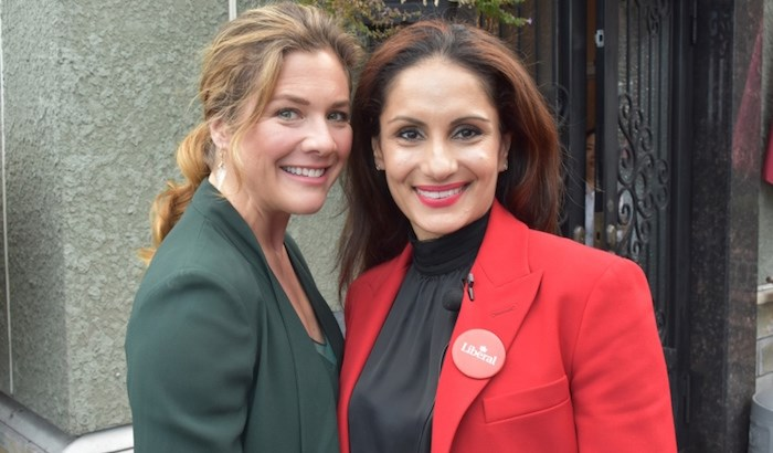 Sophie Grégoire Trudeau, the wife of Prime Minister Justin Trudeau, and Neelam Brar, Burnaby South Liberal candidate, spoke to the NOW Tuesday about women in leadership. Photo by Kelvin Gawley/Burnaby NOW