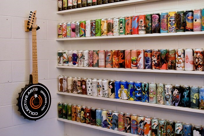 Collective Arts' can and bottle label gallery showcases the brewery's creative side. Photo by Rob Mangelsdorf