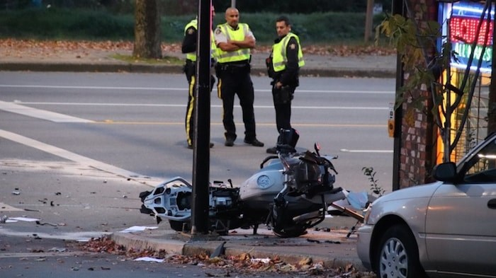One man is in hospital with serious injuries after an afternoon crash in Burnaby Heights at the corner of Hastings Street and Ingleton Avenue. Photo by Shane MacKichan/Burnaby NOW