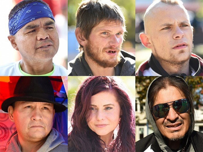 Jacob Stewart, Mike Redpath, Daniel Cameron, Sandy Parisien, Amanda Whitefield and Stanley Stump are among dozens of people living -- or who have lived -- in Oppenheimer Park. Photos Dan Toulgoet