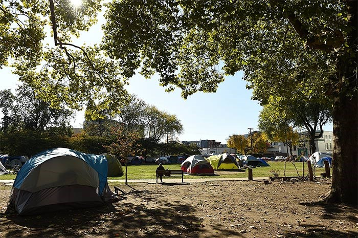 It's now been one year since the encampment began at Oppenheimer Park, according to the City of Vancouver. Photo Dan Toulgoet