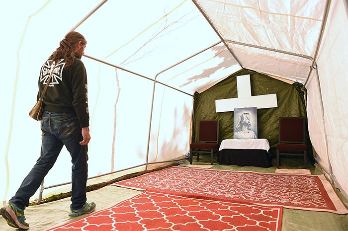 Homeless people at Oppenheimer Park recently built a church on the grounds. Photo Dan Toulgoet