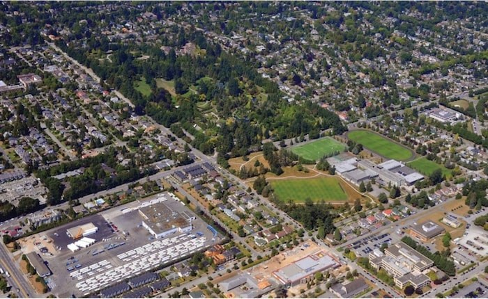 The site of the former Oakridge Transit Centre: below, left corner.