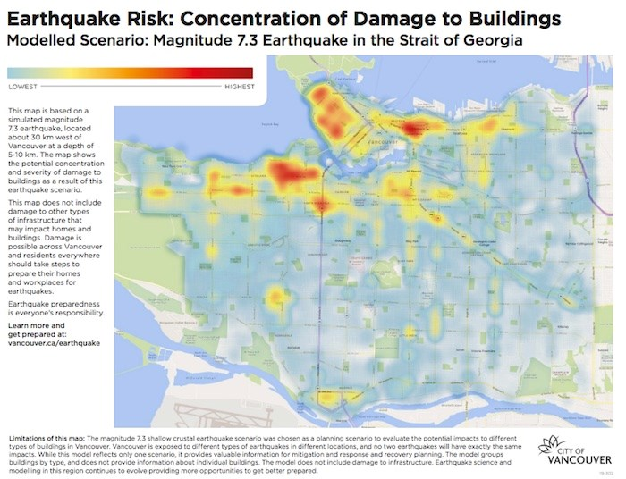 A newly-released map from the City of Vancouver shows which areas would see the most severe damage during a significant earthquake. Map courtesy City of Vancouver