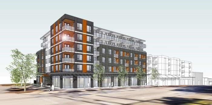 Artistic rendering of proposed development on East Hastings at Slocan Street. Rendering BHA Architecture Inc.
