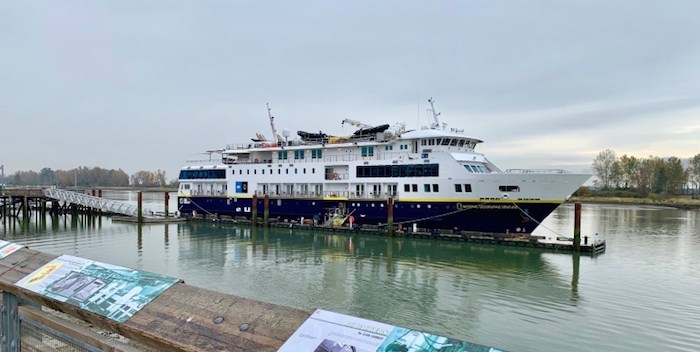 The National Geographic Venture ship made a short visit on Oct. 14. Photo by Grant McMillan