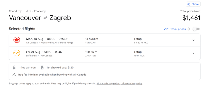 Photo: Google Flights