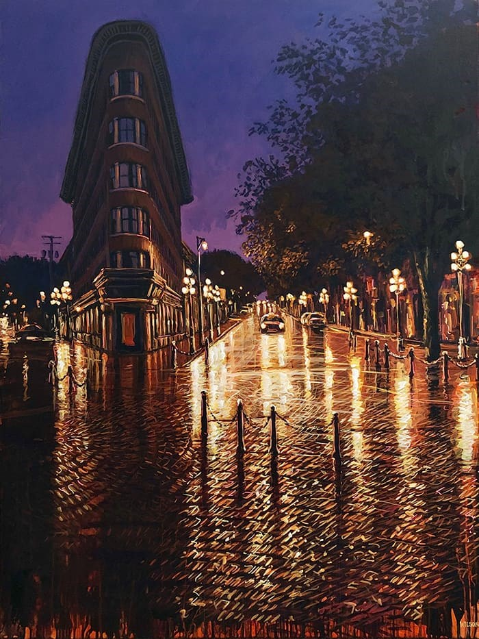 A painting by Vancouver Artist David Wilson titled 'First Light' in his latest exhibition, 'Everywhere from Here.' Photo: David Wilson