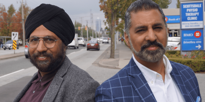 Lawyers Amandeep Singh, left, and Justin Thind of Singh Thind and Associates are NDP and Liberal supporters, respectively. Their parties fare well in Surrey's more urban ridings