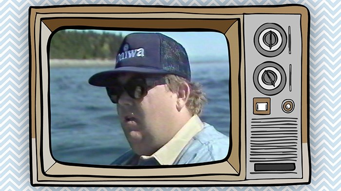 John Candy on a fishing boat, for the pilot of Break Away Outdoors. Screengrab