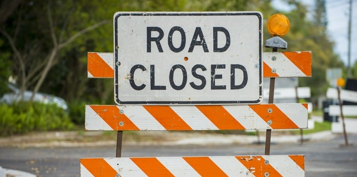 A portion of Arbutus Street will be closed Oct. 19-20, 2019. Photo: Road Closed Sign/Shutterstock