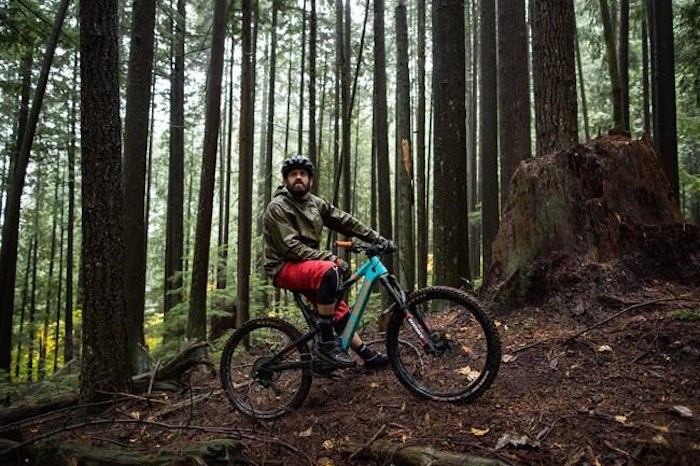 Wade Simmons poses for a photograph on his electric-assist mountain bike, on Mount Fromme in North Vancouver, on Sunday October 20, 2019. Athletes, recreationalists and industry members say the trend of e-bike use is opening trails to new riders, giving established mountain bikers more freedom to spend more time outside and creating some concern about the impact on sensitive ecosystems. THE CANADIAN PRESS/Darryl Dyck