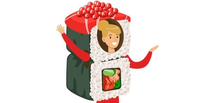 Photo: Smiling woman wearing sushi roll costume / Shutterstock